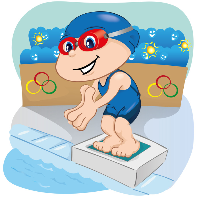 Swimming athlete child preparing to enter the pool